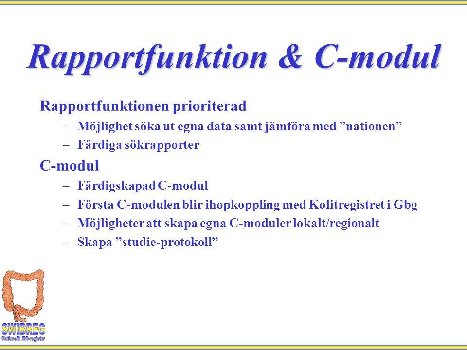 """Rapportfunktionen prioriterad –Möjlighet söka ut egna data samt jämföra med """"nationen"""" –Färdiga sökrapporter C-modul –Färdigskapad C-modul –Första C-m"""