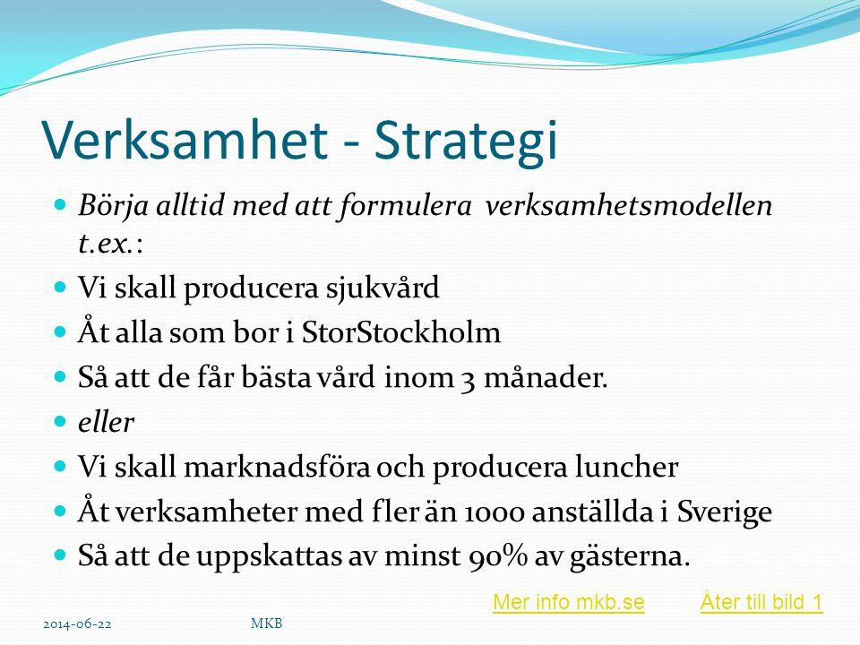 Verksamhet - Strategi  Börja alltid med att formulera verksamhetsmodellen t.ex.:  Vi skall producera sjukvård  Åt alla som bor i StorStockholm  Så