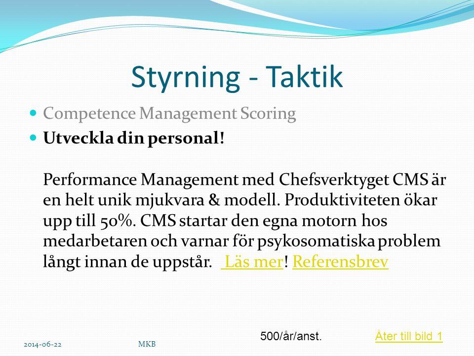 Styrning - Taktik  Competence Management Scoring  Utveckla din personal! Performance Management med Chefsverktyget CMS är en helt unik mjukvara & mo