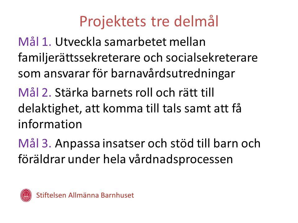 Projektets tre delmål Mål 1. Utveckla samarbetet mellan familjerättssekreterare och socialsekreterare som ansvarar för barnavårdsutredningar Mål 2. St