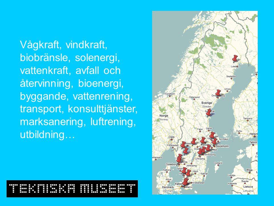 Vågkraft, vindkraft, biobränsle, solenergi, vattenkraft, avfall och återvinning, bioenergi, byggande, vattenrening, transport, konsulttjänster, marksa