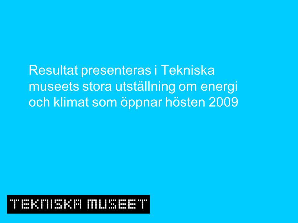 Resultat presenteras i Tekniska museets stora utställning om energi och klimat som öppnar hösten 2009