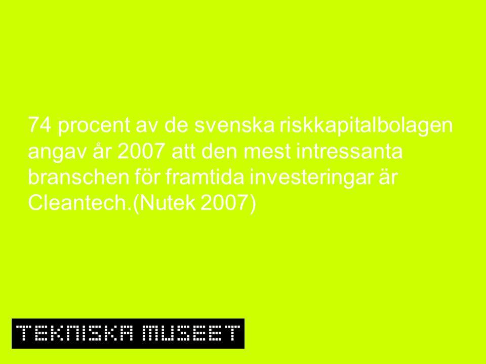 74 procent av de svenska riskkapitalbolagen angav år 2007 att den mest intressanta branschen för framtida investeringar är Cleantech.(Nutek 2007)