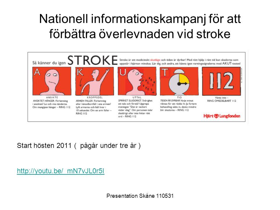 Presentation Skåne 110531 Nationell informationskampanj för att förbättra överlevnaden vid stroke Start hösten 2011 ( pågår under tre år ) http://yout