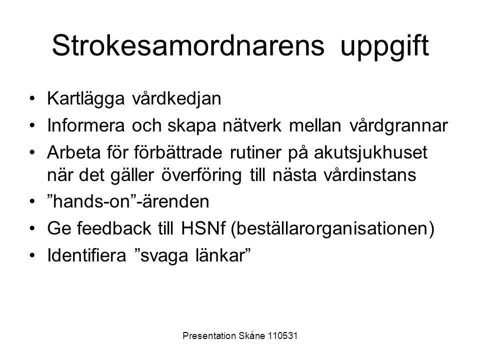 Presentation Skåne 110531 Strokesamordnarens uppgift •Kartlägga vårdkedjan •Informera och skapa nätverk mellan vårdgrannar •Arbeta för förbättrade rut