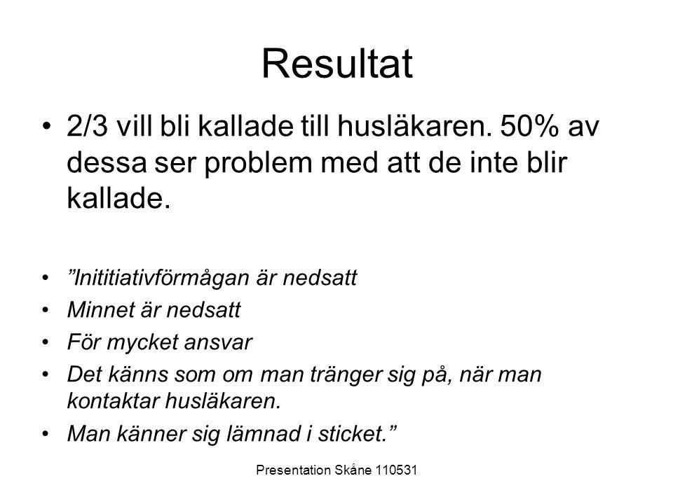 """Presentation Skåne 110531 Resultat •2/3 vill bli kallade till husläkaren. 50% av dessa ser problem med att de inte blir kallade. •""""Inititiativförmågan"""