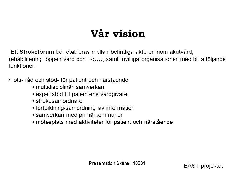 Presentation Skåne 110531 Vår vision Ett Strokeforum bör etableras mellan befintliga aktörer inom akutvård, rehabilitering, öppen vård och FoUU, samt