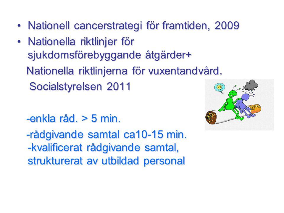 •Nationell cancerstrategi för framtiden, 2009 •Nationella riktlinjer för sjukdomsförebyggande åtgärder+ Nationella riktlinjerna för vuxentandvård. Nat