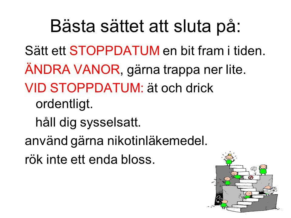 Bästa sättet att sluta på: Sätt ett STOPPDATUM en bit fram i tiden. ÄNDRA VANOR, gärna trappa ner lite. VID STOPPDATUM: ät och drick ordentligt. håll