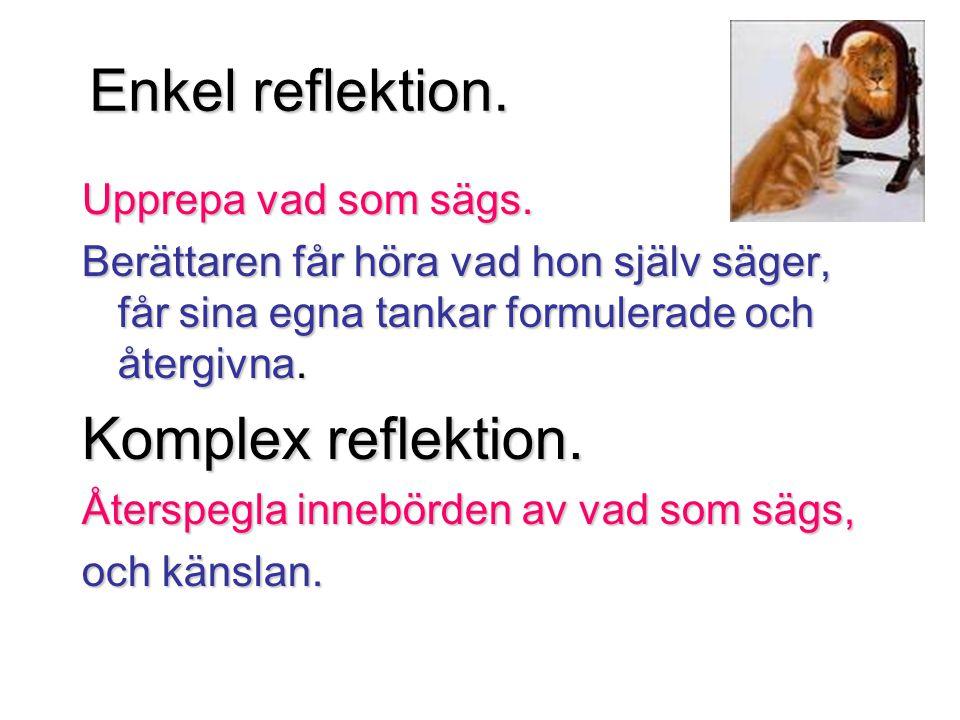 Enkel reflektion. Upprepa vad som sägs. Berättaren får höra vad hon själv säger, får sina egna tankar formulerade och återgivna. Komplex reflektion. Å