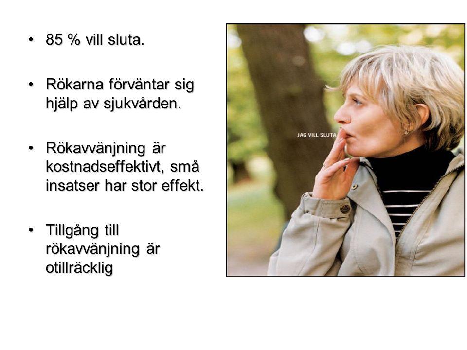 •85 % vill sluta. •Rökarna förväntar sig hjälp av sjukvården. •Rökavvänjning är kostnadseffektivt, små insatser har stor effekt. •Tillgång till rökavv