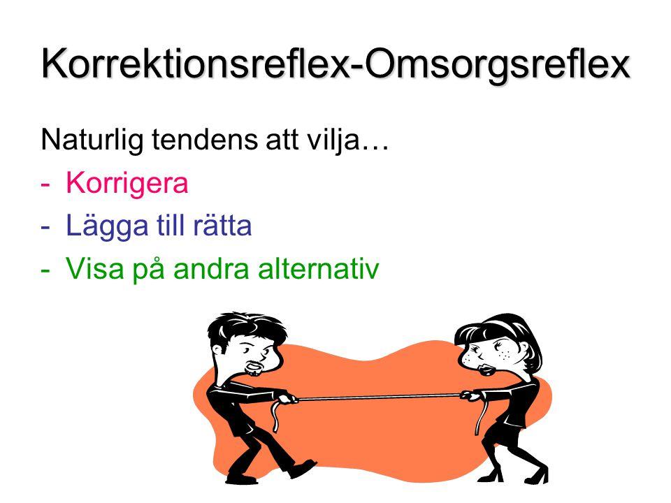 Korrektionsreflex-Omsorgsreflex Naturlig tendens att vilja… -Korrigera -Lägga till rätta -Visa på andra alternativ