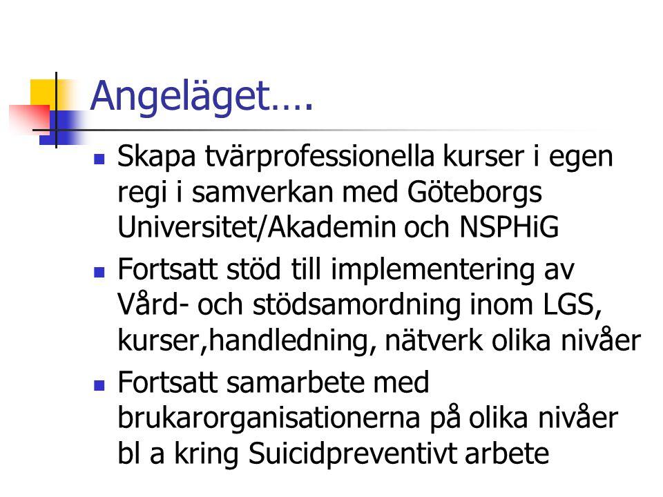 Angeläget….  Skapa tvärprofessionella kurser i egen regi i samverkan med Göteborgs Universitet/Akademin och NSPHiG  Fortsatt stöd till implementerin