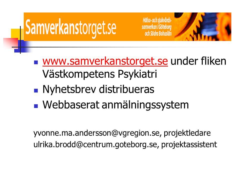  www.samverkanstorget.se under fliken Västkompetens Psykiatri www.samverkanstorget.se  Nyhetsbrev distribueras  Webbaserat anmälningssystem yvonne.
