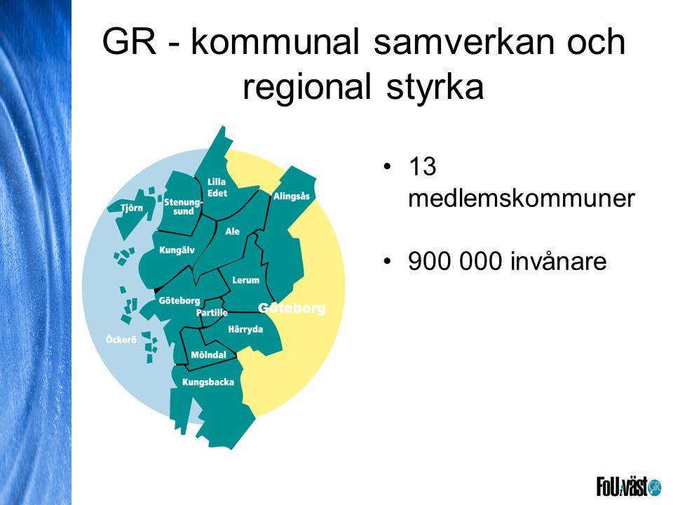Göteborg Stenung- sund Ale Kungälv Partille Lerum Mölndal Härryda Kungsbacka Tjörn Alingsås Lilla Edet GR - kommunal samverkan och regional styrka Göt