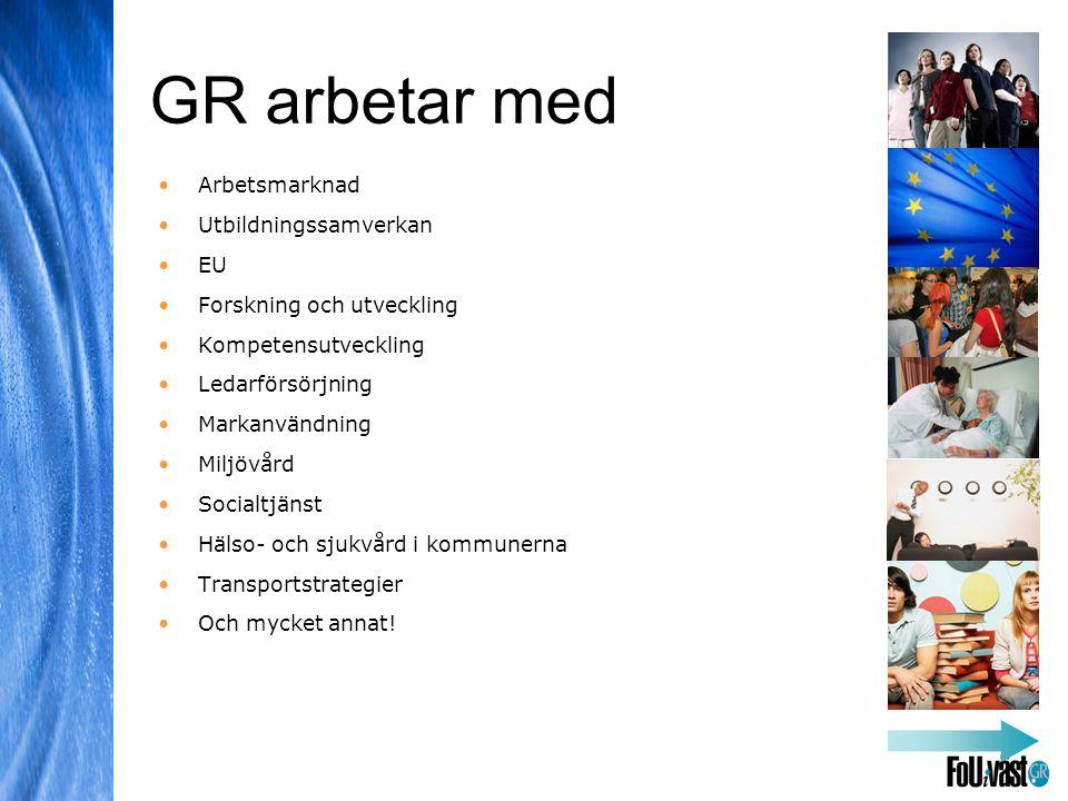 GR arbetar med •Arbetsmarknad •Utbildningssamverkan •EU •Forskning och utveckling •Kompetensutveckling •Ledarförsörjning •Markanvändning •Miljövård •Socialtjänst •Hälso- och sjukvård i kommunerna •Transportstrategier •Och mycket annat!