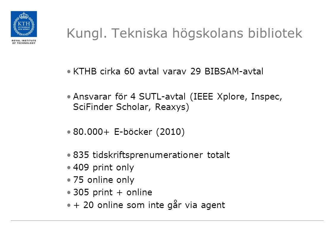 Kungl. Tekniska högskolans bibliotek •KTHB cirka 60 avtal varav 29 BIBSAM-avtal •Ansvarar för 4 SUTL-avtal (IEEE Xplore, Inspec, SciFinder Scholar, Re