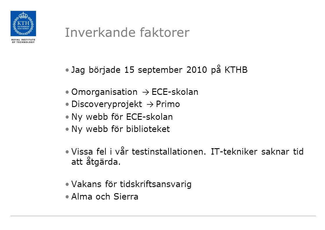 Inverkande faktorer •Jag började 15 september 2010 på KTHB •Omorganisation → ECE-skolan •Discoveryprojekt → Primo •Ny webb för ECE-skolan •Ny webb för