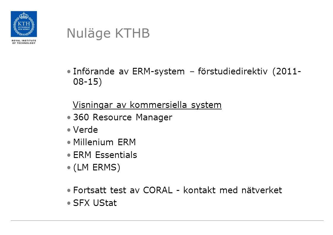 Nuläge KTHB •Införande av ERM-system – förstudiedirektiv (2011- 08-15) Visningar av kommersiella system •360 Resource Manager •Verde •Millenium ERM •E