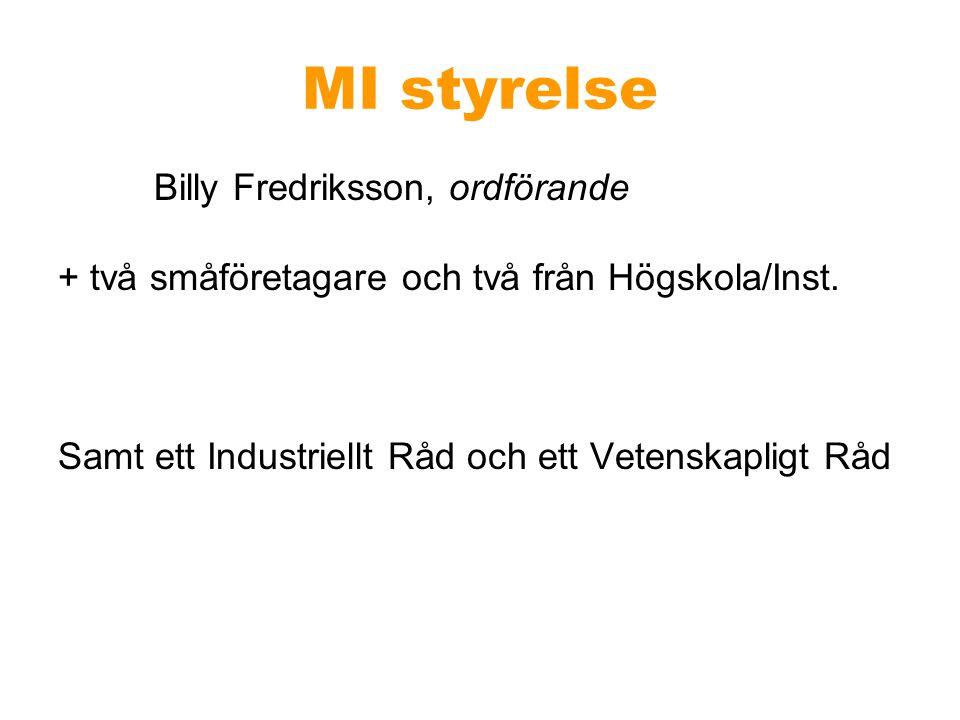MI styrelse Billy Fredriksson, ordförande + två småföretagare och två från Högskola/Inst. Samt ett Industriellt Råd och ett Vetenskapligt Råd
