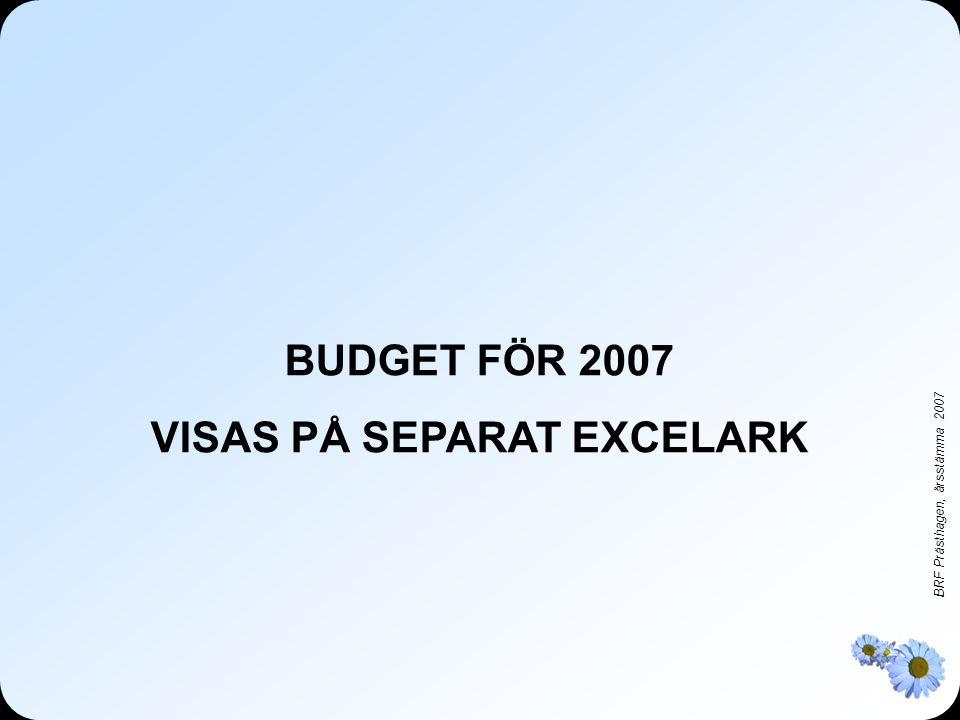 BRF Prästhagen, årsstämma 2007 BUDGET FÖR 2007 VISAS PÅ SEPARAT EXCELARK