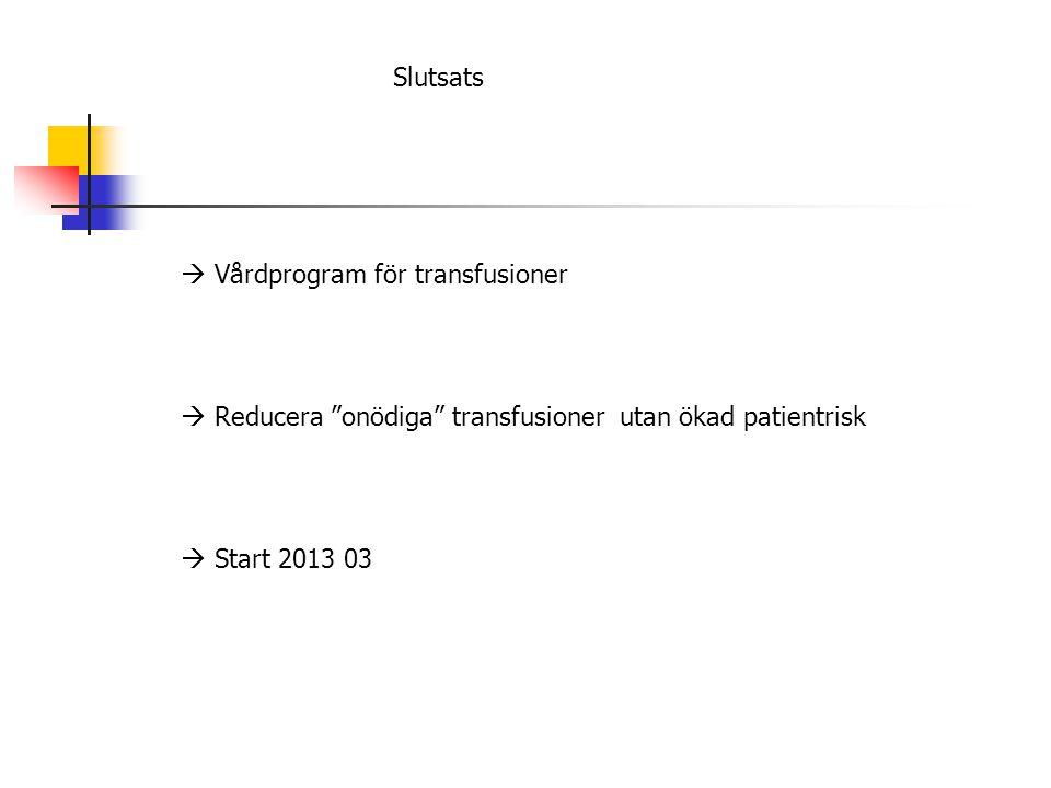"""Slutsats  Vårdprogram för transfusioner  Reducera """"onödiga"""" transfusioner utan ökad patientrisk  Start 2013 03"""
