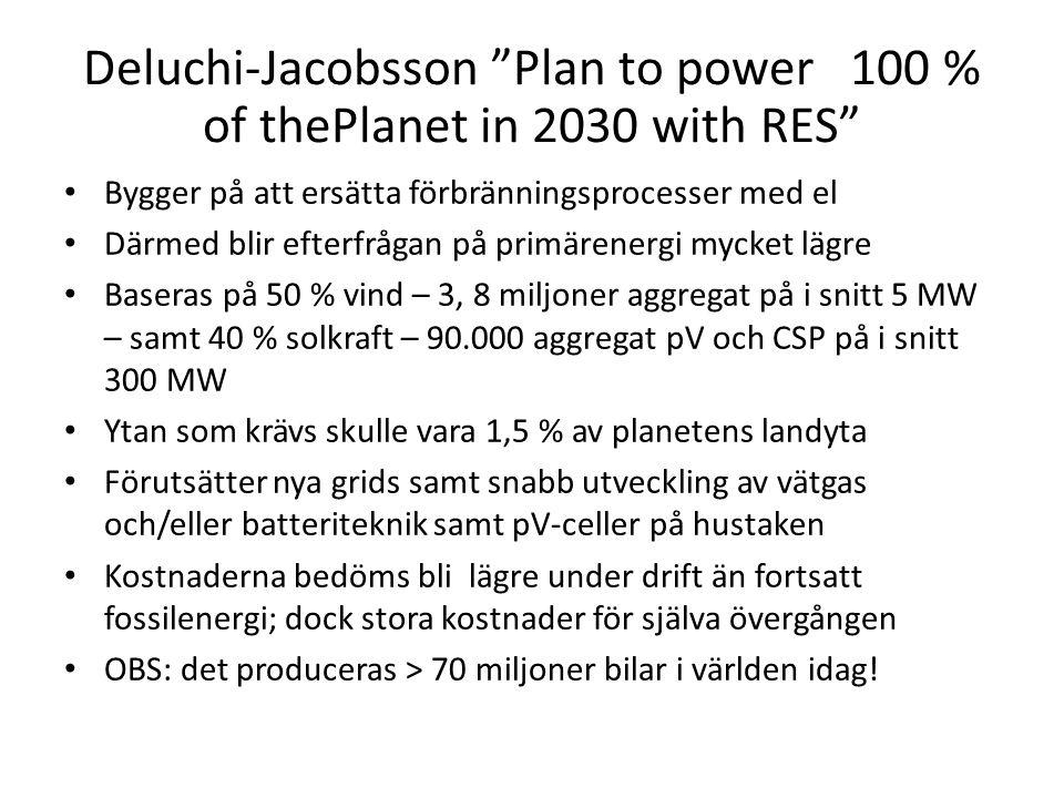 """Deluchi-Jacobsson """"Plan to power 100 % of thePlanet in 2030 with RES"""" • Bygger på att ersätta förbränningsprocesser med el • Därmed blir efterfrågan p"""