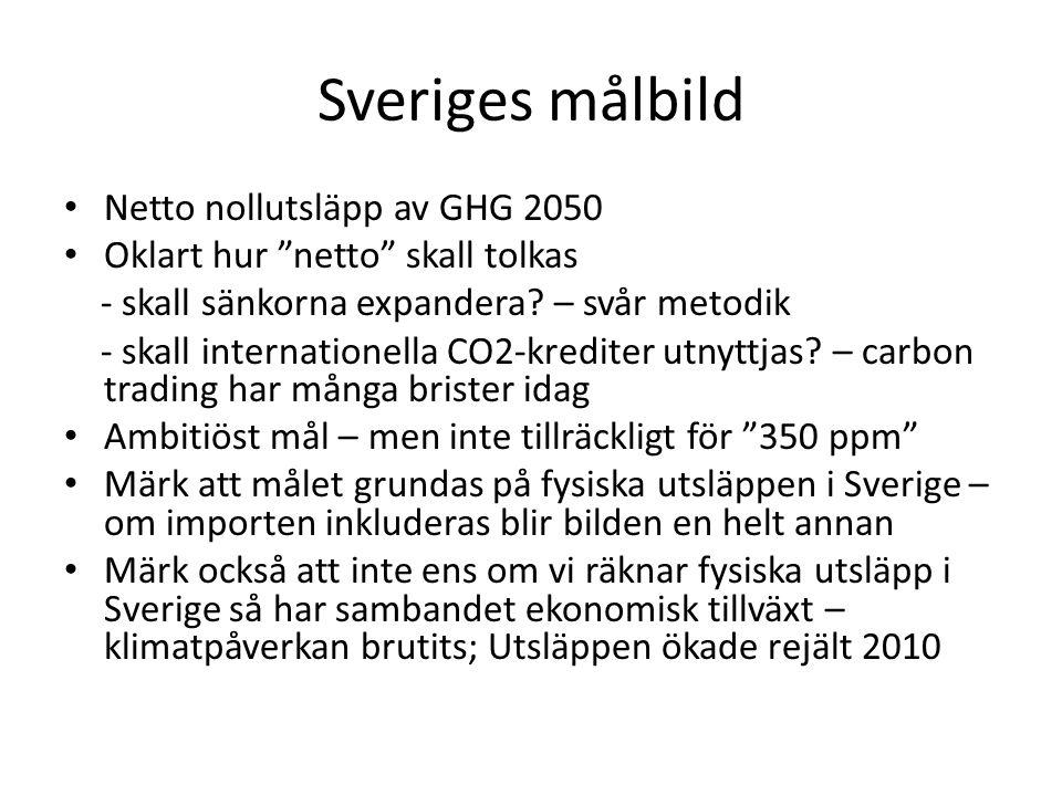 """Sveriges målbild • Netto nollutsläpp av GHG 2050 • Oklart hur """"netto"""" skall tolkas - skall sänkorna expandera? – svår metodik - skall internationella"""