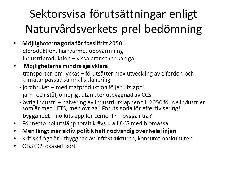 Sektorsvisa förutsättningar enligt Naturvårdsverkets prel bedömning • Möjligheterna goda för fossilfritt 2050 - elproduktion, fjärrvärme, uppvärmning