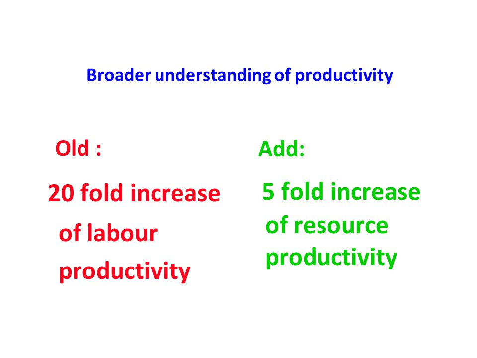 Broader understanding of productivity Old : 20 fold increase of labour productivity Add: 5 fold increase of resource productivity