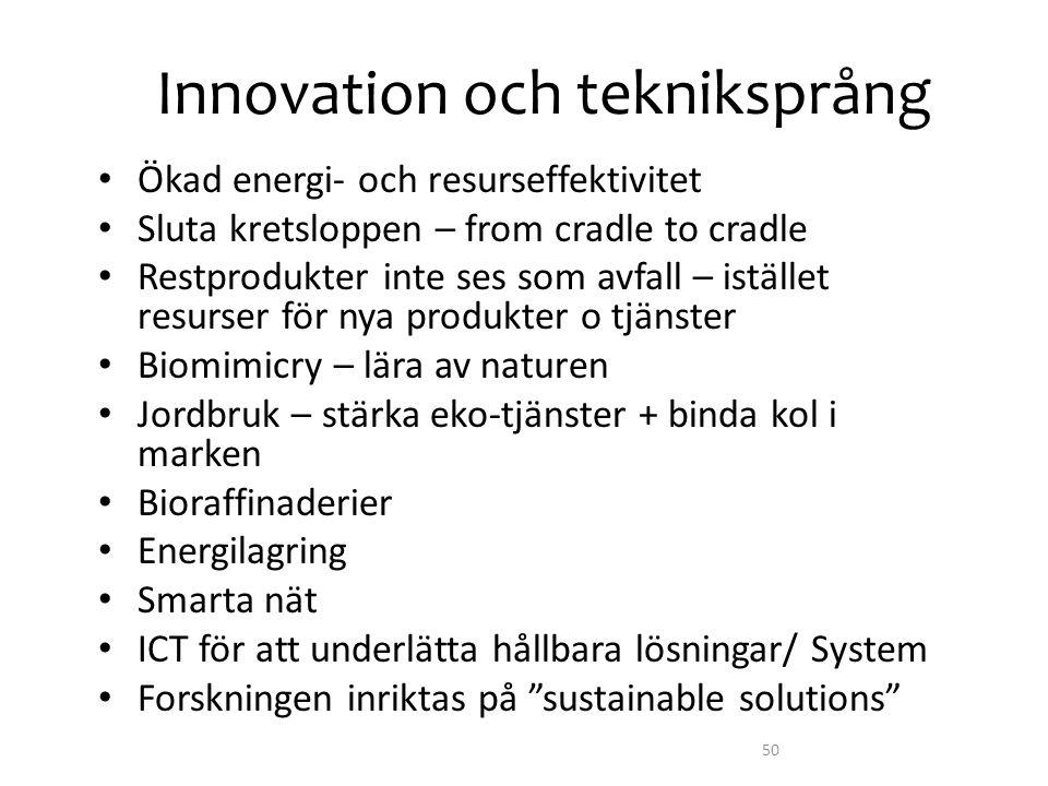 Innovation och tekniksprång • Ökad energi- och resurseffektivitet • Sluta kretsloppen – from cradle to cradle • Restprodukter inte ses som avfall – is