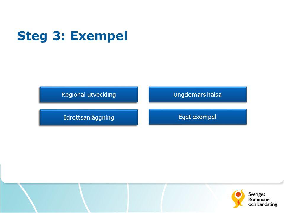 Steg 3: Exempel Ungdomars hälsa Eget exempel