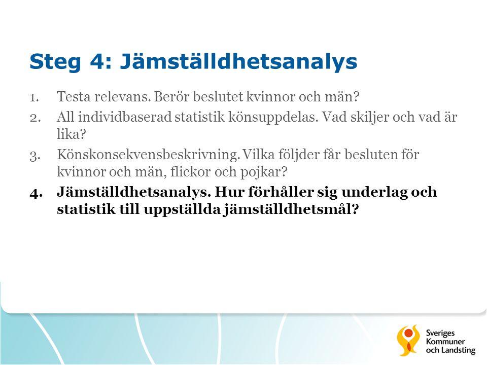 Steg 4: Jämställdhetsanalys 1.Testa relevans. Berör beslutet kvinnor och män? 2.All individbaserad statistik könsuppdelas. Vad skiljer och vad är lika