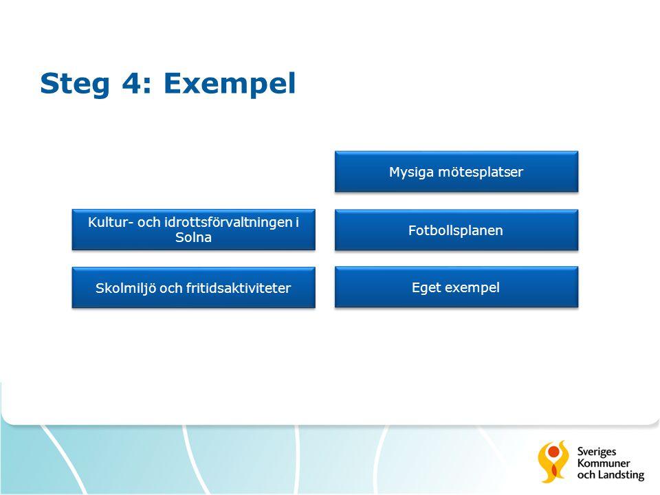 Steg 4: Exempel Kultur- och idrottsförvaltningen i Solna Kultur- och idrottsförvaltningen i Solna Skolmiljö och fritidsaktiviteter Mysiga mötesplatser