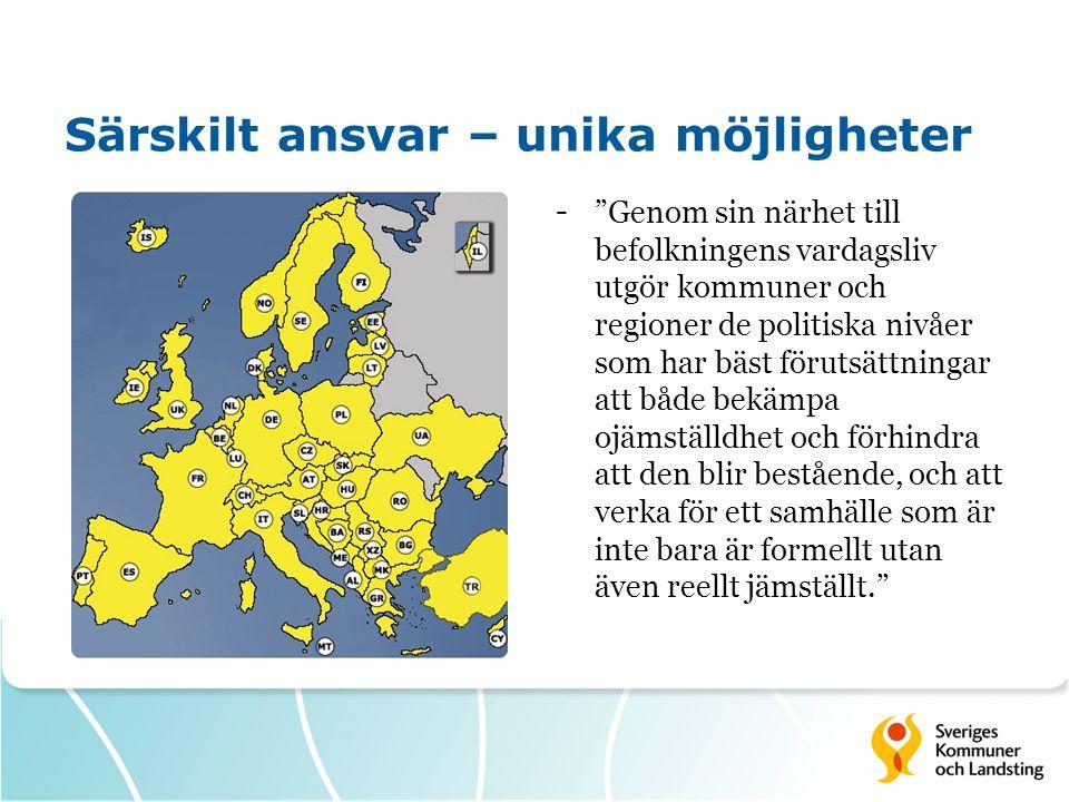 """Särskilt ansvar – unika möjligheter -""""Genom sin närhet till befolkningens vardagsliv utgör kommuner och regioner de politiska nivåer som har bäst föru"""