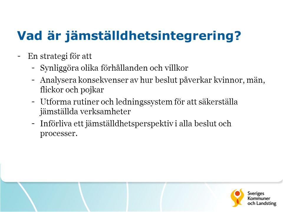 Vad är jämställdhetsintegrering? - En strategi för att - Synliggöra olika förhållanden och villkor - Analysera konsekvenser av hur beslut påverkar kvi