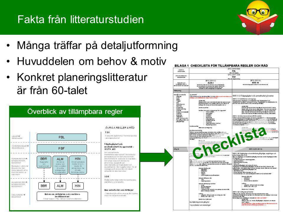 Fakta från litteraturstudien Överblick av tillämpbara regler •Många träffar på detaljutformning •Huvuddelen om behov & motiv •Konkret planeringslitter