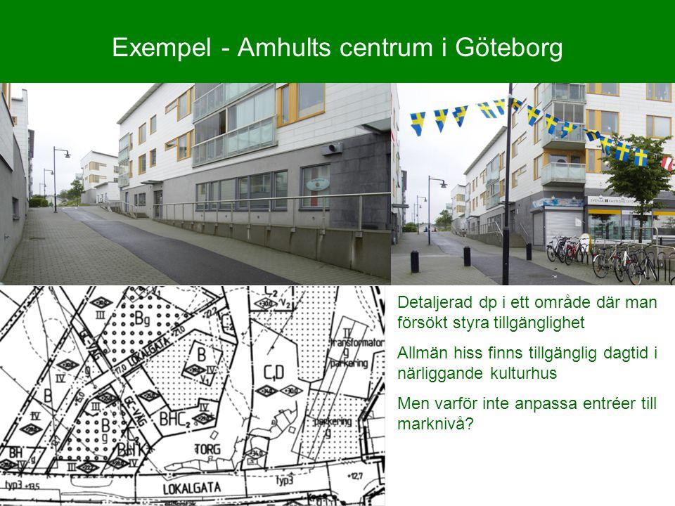 Exempel - Amhults centrum i Göteborg Detaljerad dp i ett område där man försökt styra tillgänglighet Allmän hiss finns tillgänglig dagtid i närliggand