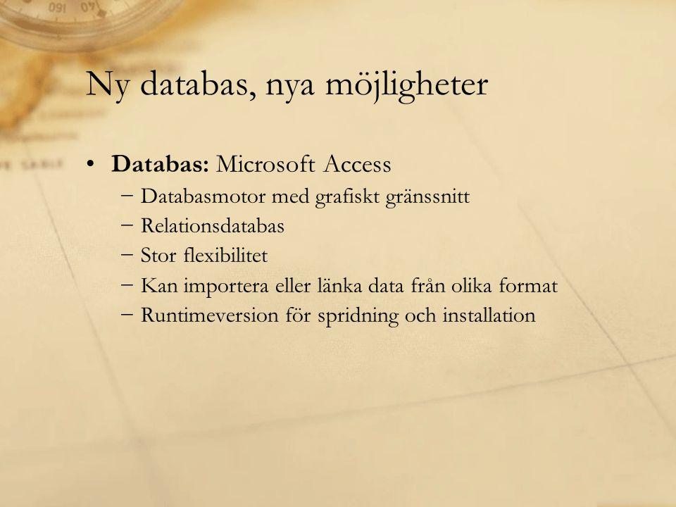•Databas: Microsoft Access −Databasmotor med grafiskt gränssnitt −Relationsdatabas −Stor flexibilitet −Kan importera eller länka data från olika forma