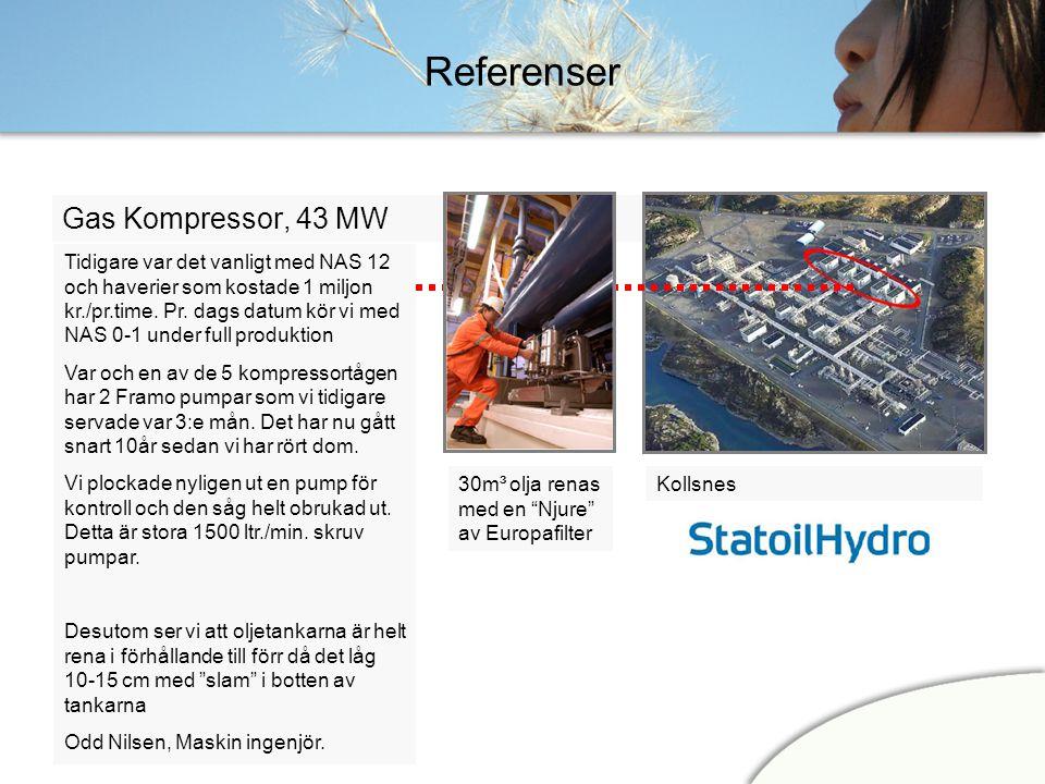 Referenser Gas Kompressor, 43 MW Kollsnes Tidigare var det vanligt med NAS 12 och haverier som kostade 1 miljon kr./pr.time. Pr. dags datum kör vi med