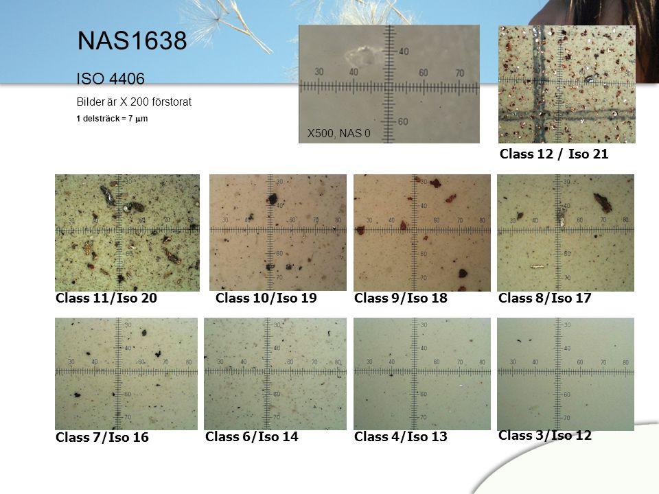 NAS1638 Class 6/Iso 14Class 4/Iso 13 Class 3/Iso 12 Class 7/Iso 16 Class 8/Iso 17Class 9/Iso 18Class 10/Iso 19Class 11/Iso 20 Class 12 / Iso 21 ISO 44