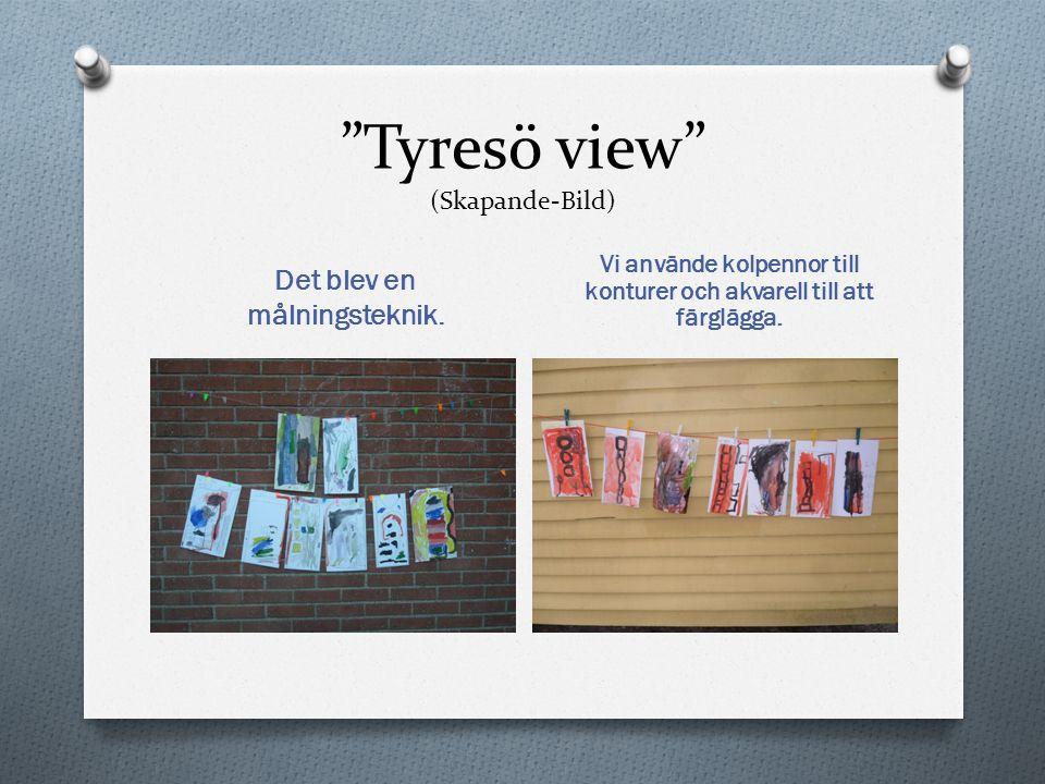 """""""Tyresö view"""" (Skapande-Bild) Det blev en målningsteknik. Vi använde kolpennor till konturer och akvarell till att färglägga."""