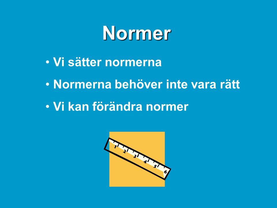 Normer • Vi sätter normerna • Normerna behöver inte vara rätt • Vi kan förändra normer