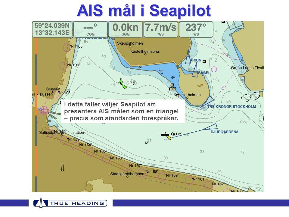 AIS mål i Seapilot I detta fallet väljer Seapilot att presentera AIS målen som en triangel – precis som standarden förespråkar.