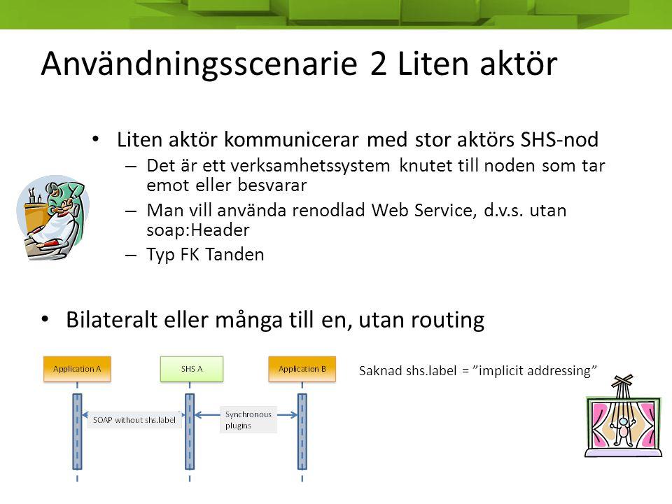 Användningsscenarie 2 Liten aktör • Liten aktör kommunicerar med stor aktörs SHS-nod – Det är ett verksamhetssystem knutet till noden som tar emot ell