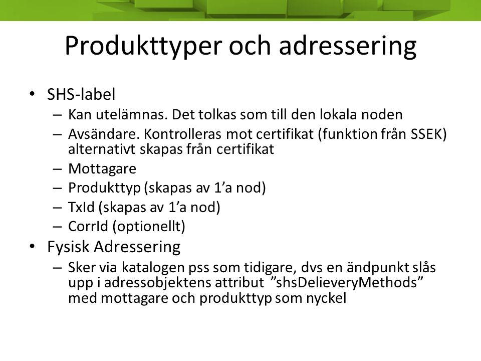Produkttyper och adressering • SHS-label – Kan utelämnas. Det tolkas som till den lokala noden – Avsändare. Kontrolleras mot certifikat (funktion från