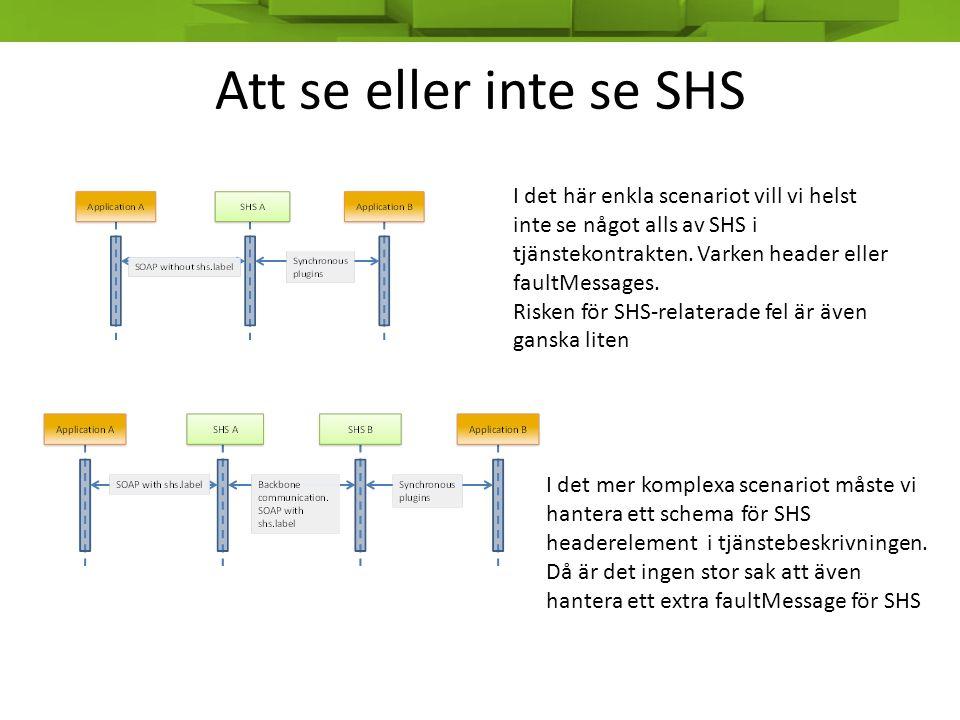 Att se eller inte se SHS I det här enkla scenariot vill vi helst inte se något alls av SHS i tjänstekontrakten. Varken header eller faultMessages. Ris