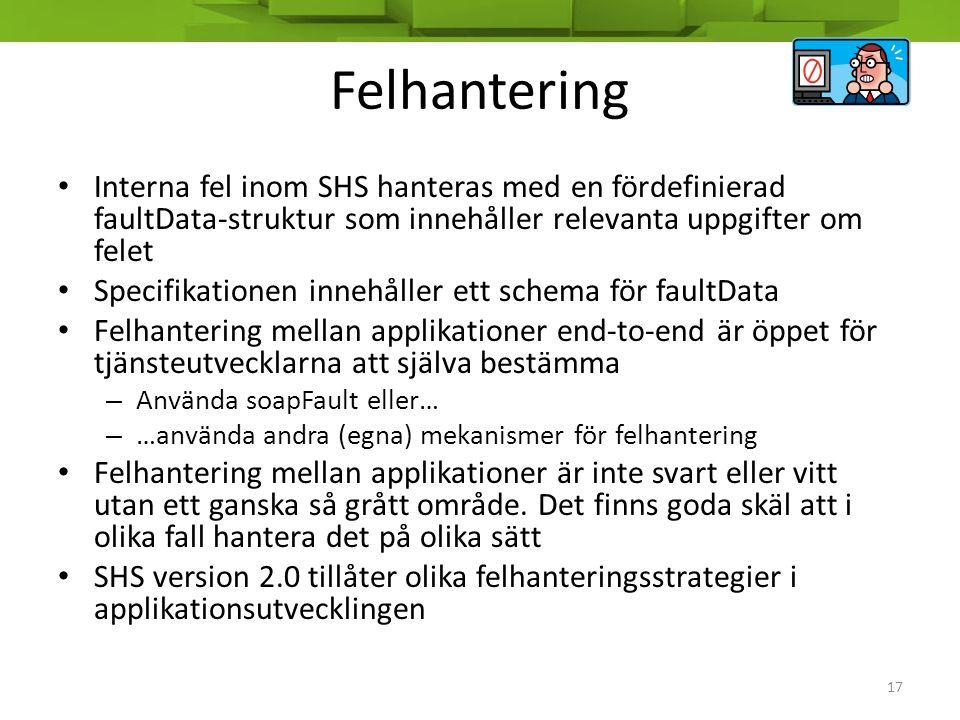 Felhantering • Interna fel inom SHS hanteras med en fördefinierad faultData-struktur som innehåller relevanta uppgifter om felet • Specifikationen inn