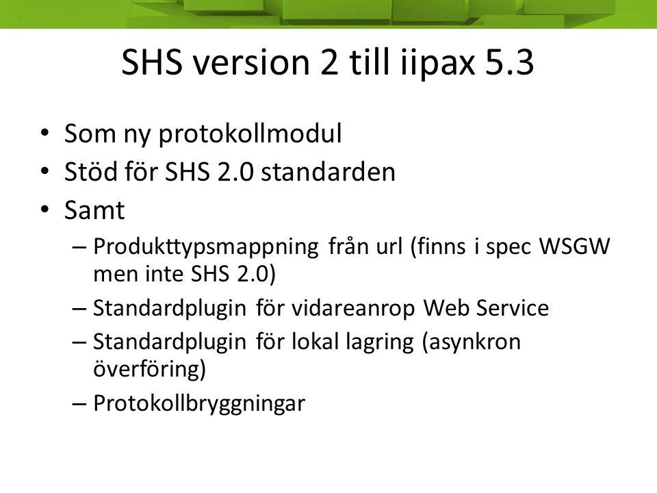 SHS version 2 till iipax 5.3 • Som ny protokollmodul • Stöd för SHS 2.0 standarden • Samt – Produkttypsmappning från url (finns i spec WSGW men inte S
