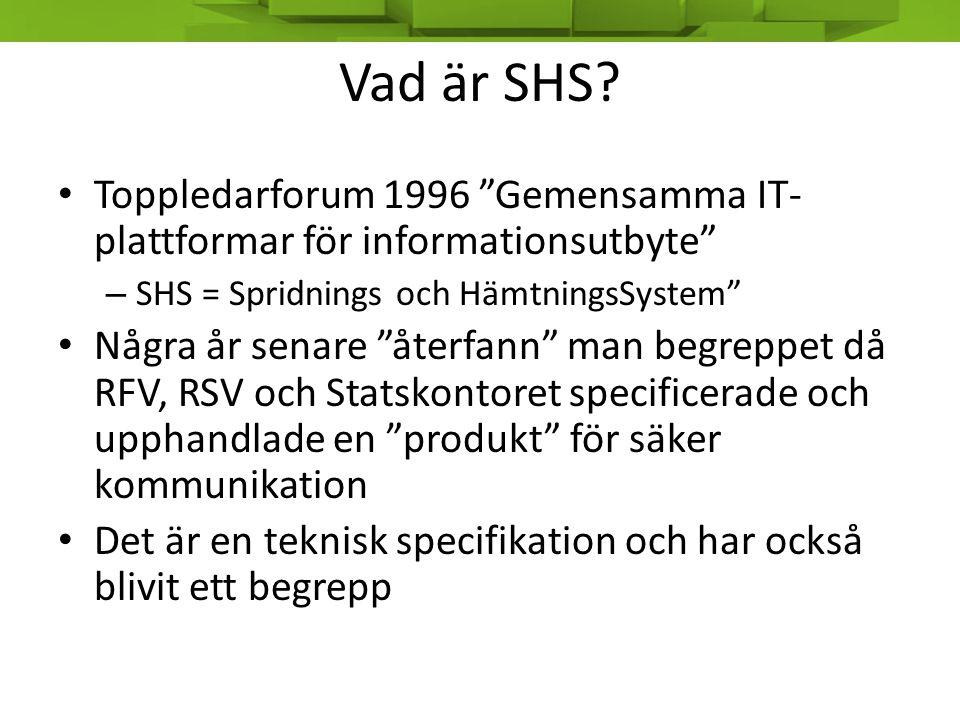 Bakgrund • SHS tuffar på i det tysta, säkert och med stora volymer • Men det har länge funnits ett behov och ett tryck att modernisera konceptet • SHS NG har länge varit i vardande – European eLink – FGS Verva projekt SHS 2.0 – Samarbete med vården på G med RIV 1.0… – … men det blev verklighet kring RIVTA 2.0 • Det har hänt en del sedan 1998.